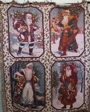 Goodwin Weavers Vintage Santa's Four Triple Woven Afghan Throw Blanket Christmas