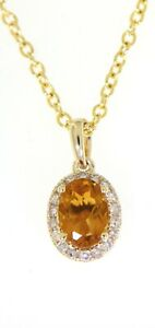 Citrine Gemstone 14K Yellow Gold Real Natural Diamond Oval Halo Pendant 0.77CT
