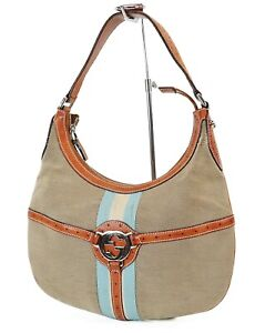 Authentic GUCCI Brown Canvas and Leather Hobo Tote Hand Bag Purse #39153
