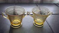 Federal Glass Patrician Spoke Vintage 1930 Amber Yellow Glass Creamer Sugar Bowl