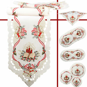 Red Candle Book Bell Christmas Embroidery Tablecloth Runner Overlay Doily White