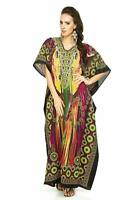 Woman Oversized Tribal Floral Design  Maxi Kimono Kaftan Tunic Dress Free Size