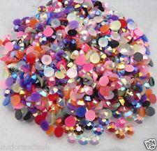 2000pcs Mixed Jelly AB 4mm ss16 Flat Back Resin Rhinestones Nail Art Craft Gems