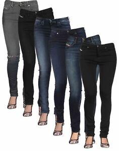 Ladies Diesel Super Slim Skinny Jeans Skinzee in Blue and Black Regular Waist