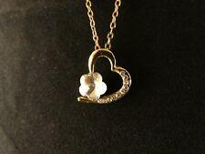 Herz Anhänger 24 Karat Vergoldet Herz Weiß Strass Love Damen Halskette