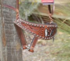 Bar H Winged Cross Tie-Down Noseband - White Cowhide Inlay & Sunspots Border