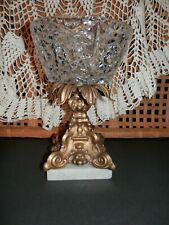 Vintage Star Burst Clear Cut Glass Compote Center Bowl with Brass Marble Base