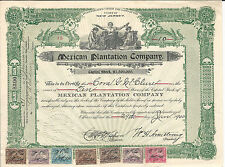NEW JERSEY Mexican Plantation Co Stock Certificate 1900 Revenue Stamps