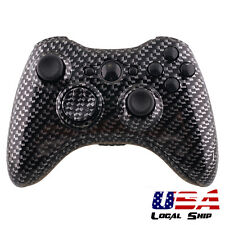 Custom Black Carbon Fiber Hydro Dipped Shell Buttons Mod For Xbox 360 Controller