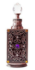 Vintage Design Brown Metal and Gems Glass Perfume Oil Bottle Refillable