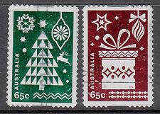 Australia 2014 Christmas used pair embellished self adhesive stamps.Tree.Gift
