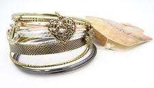 New 12 Piece Metal Bangle Bracelet Set with 3 Charms nwt #B1179