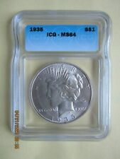 1935 Peace Silver Dollar - Graded ICG MS64