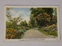 Vintage Postcard Greetings From North Berwick Maine ME White Border posted #552