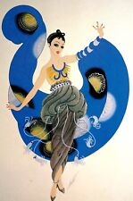 Erte 1987 A DREAM LADY in BLUE Bracelets Necklace Tassels Art Deco Matted Print