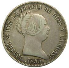 Coins: Ancient Reproducción Moneda 20 Reales 1850 Isabel Ii Con Baño De Plata Pura Coins & Paper Money