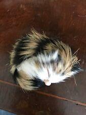 Black, White, And Tan Furry Sleeping Cat / Kitten Figurine From Switzerland