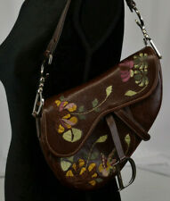 "Christian Dior Embroidered Saddle Bag Flower ""CD"" Logo Brown Leather Charm Italy"