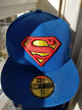 ☞New Era Baseball Cap Superman 59 Fifty Mütze DC Comics Film Lizenziert Blau NEU