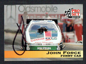 John Force #117 signed autograph auto 1992 Pro Set NHRA Trading Card