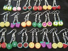 5 Pairs of  Polymer Clay Multi Colour FRUIT Bead Earrings NEW Fashion Jewellery