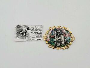 """Nan Kilgore Large Oval Glazed Brooch Pug Dog Hand Painted 2 7/8"""" Wide"""