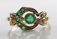 VINTAGE INSP 9K 9CT GOLD EMERALD & PEARL SUN & MOON RING FREE RESIZE