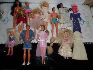 Lot of 11 Barbie Ken  Dolls w/Some Clothes
