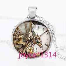 Steampunk Dragon clock Cabochon Tibetan silver Glass Chain Pendant Necklace#1074