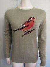 TALBOTS Women's Petite M Sweater Red Bird Lambswool Blend Sage Green Crew