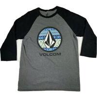 Volcom 3/4 Sleeve Shirt Mens Size Large Grey Black