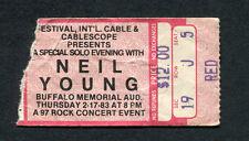 1983 Neil Young Solo concert ticket stub Buffalo NY Everybody's Rockin