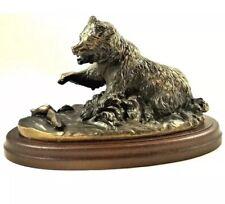 Vintage 80's Avon Gallery Originals Grizzly Bear Salmon Fishing Bronze Figurine