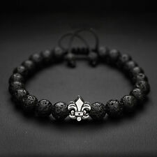 Mens 8mm Lava Stone and Fleur De Lis Figure Royal Beaded Bracelet Adjustable
