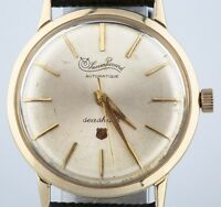 10k Yellow Gold Plated Lucien Piccard Automatic Seashark Mens Watch Leather Band