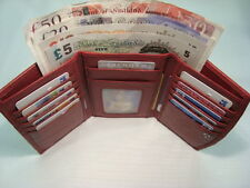 Ladies Leather Purse Wallet Organiser Red Trifold With Many features Top Brand