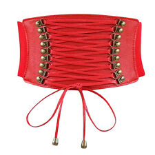 Women Rivet Elastic Boho Wide Band Tied Waspie Corset Waist Cincher Belt Lace Up