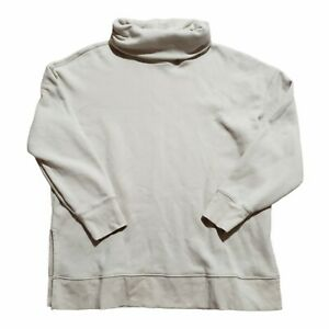 Athleta 24/7 Funnel Neck Sweatshirt Top Women's L Cream Sweater 502851 Turtle