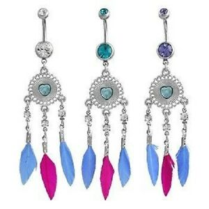 14g Dreamcatcher Belly Ring Blue Pink Feather Naval Dangle Body Jewelry Catcher