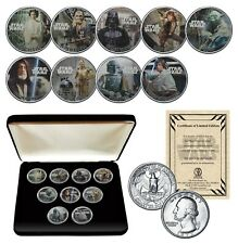 STAR WARS 1977 Washington U.S. Quarter 9-Coin Set with Box - OFFICIALLY LICENSED
