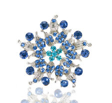 Luxury Vintage Style Blue Rhinestones Flower Shaped Evening Brooch Pin BR353