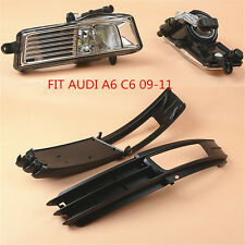 Fit AUDI A6 C6 4F 09-11 Front Bumper Fog Lights LED Lamp+Grilles Grill Bezel Kit