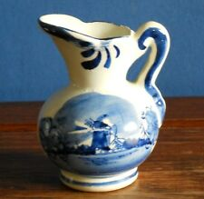 A Vintage hand painted delft small blue and white Jug / pitcher.