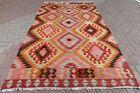 """Vintage Anatolia Turkish Barak Kilim Floor Wool Rug Handmade Rug 72""""X124"""" Carpet"""