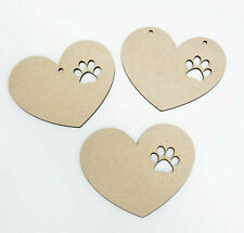 Wooden Pet Paw Print Heart Baubles Pet Gift Tags Pet Bunting 80mm