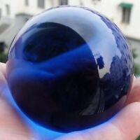 40MM Rare Blue Asian Crystal Glass Ball Healing Quartz Stone Sphere Home Decor