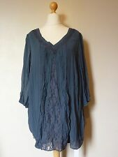 Together Crinkled Georgette Lace Trim Tunic Top Size 20 Uk BNWT RRP £52.50 Grey