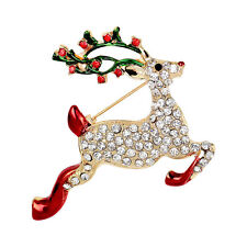 1pc Rhinestone Crystal Christmas Deer Brooch Pin Brooch Xmas Gift Gold Tone 5T