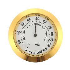 Hygrometer Cigar Tobacco Humidity Gauge  Round Brass Analog Gold Color