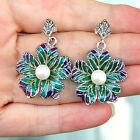 E723 Boucles d'oreilles Argent 925 émail perles & marcassites